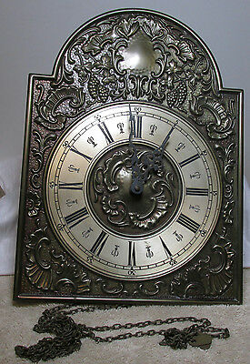 Great Fancy Brass Faced Wall Clock With Chimes - Must See - Made In Germany !!!