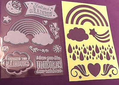 Clear Rubber Stamp Stencil Set Unicorn Moon Star NEW Girly Flower Recollections