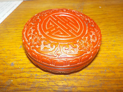 Chinese Carved Red Cinnabar Lacquer Vintage Round Flower Lid Jewelry Trinket Box