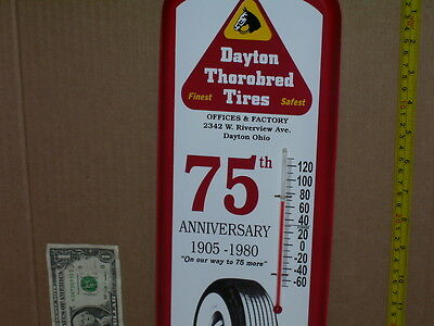 DAYTON TIRE - CLOSED OHIO FACTORY - Gas Station Thermometer -SHOWS Big Whitewall