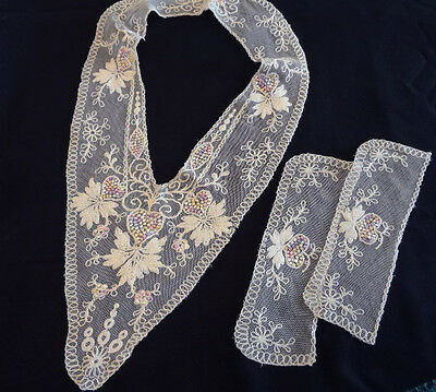 Fabulous Antique Tambour Embroidered Net Lace Collar & Cuffs