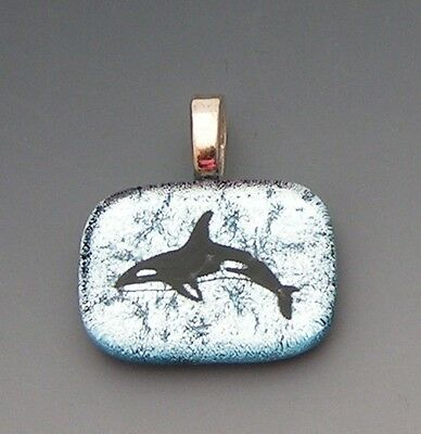Silver color Orca Killer Whale Pendant etched dichroic fused glass jewelry