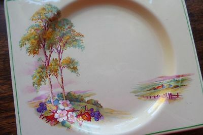 THE BIARRITZ Art Deco Plate Clarice Cliff Design (Unsigned) Country Scene