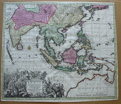 East Indies,India Orientalis,Seutter,c.1740,antique map of South East Asia
