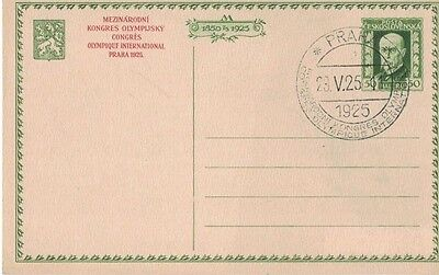 1925 Olympic Congress Praha, Czech Republic Letter Card with 29.5.25 Cancel RARE
