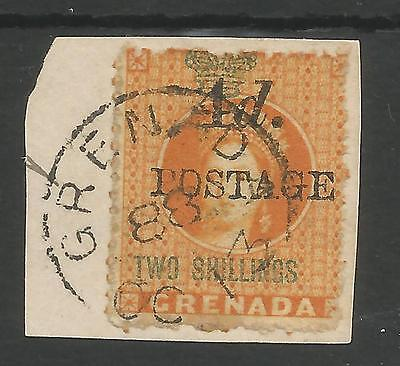 GRENADA 1888-91 QV 4d ON 2/-  FINE USED ON PIECE