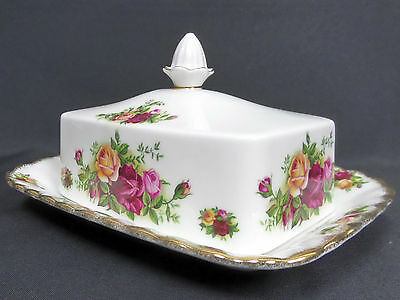 Old Country Roses Oblong Lidded Butter Dish, Vgc, 1973-93, England, Royal Albert