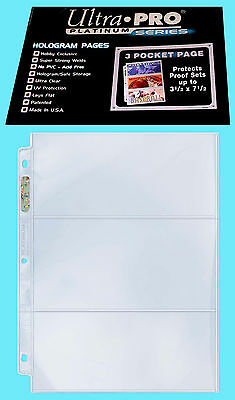50 ULTRA PRO PLATINUM 3-POCKET 3.5x7.5 Pages Sheet Ticket Currency Coupon Cards