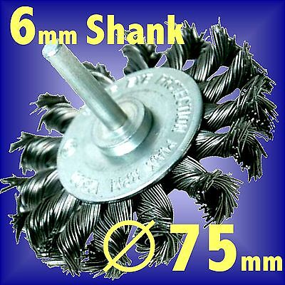 Silverline 75mm Rotary Twist Knot Wire Wheel cup brush 6mm shank