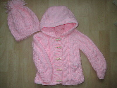 new hand knitted   aran  cardigan/jacket and hat  3/6 months months