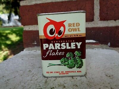 Vintage Red Owl Parsley Flakes Spice Tin Can Kitchen Advertising Graphic Sign