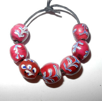 7 VENETIAN made FANCY RED FLORAL - GLASS TRADE BEADS