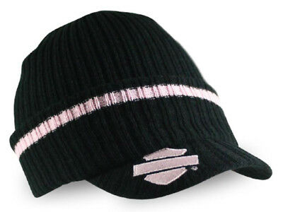 Harley-Davidson Women's Striped H-D Embroidered Knit Cap, Black & Pink KN00891