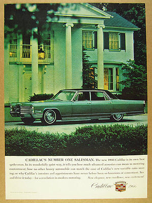 1966 Cadillac Fleetwood green sedan color photo vintage print Ad