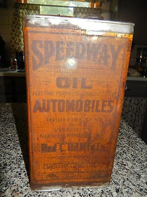 VTG 1909 SPEEDWAY Motor Oil Can HIGH FIRE TEST ORIGINAL Early Automobile Tin