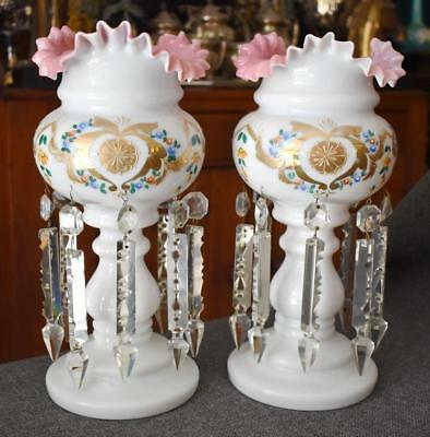 Fab Antique White Bristol Glass Gilded Heart Floral Pink Ruffled Top Lustre Pair