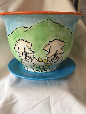 Wheaten Terrier  Hand Painted Pot Whimsical By Darci