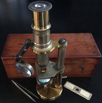 Small French Student Microscope in Wood Case