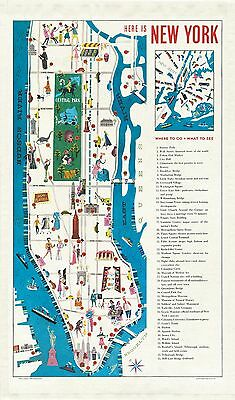 Cavallini - 100% Natural Cotton Vintage Tea Towel - 80x47cms - New York City Map