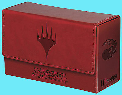 ULTRA PRO MTG MATTE RED MANA Leatherette DUAL FLIP DECK BOX Card Storage Case