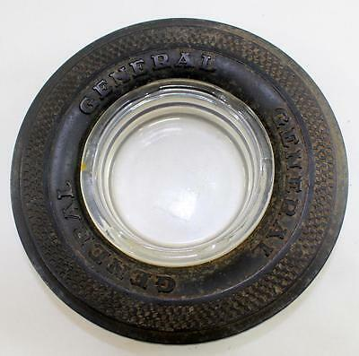Vintage General Tire Rubber Tire Glass Ashtray