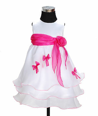 New Baby Girls White and Hot Pink Bows Party Pageant Dress 12-18 Months