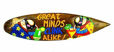 "23"" Handmade Wood Great Minds Clink Alike Tiki Surfboard Sign Bar Pool Tropical"