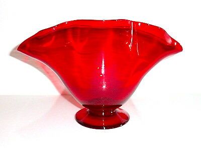 "Gunderson Pairpoint Selenium Red 10.75"" Footed Bowl or Vase"