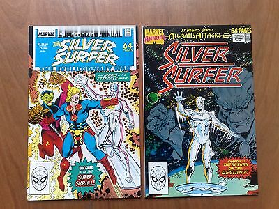 2 x SILVER SURFER ANNUALS #1 & #2 MARVEL COMICS 1988/89 BOTH VERY FINE STAN LEE