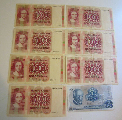 Norway 7 x 100 Hundre Kroner BankNotes Norges Bank + 1 x 10 TI Kroner