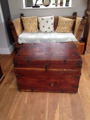 WW1 Antique Military Campaign Trunk Chest Coffee Table  Lt Col Maclaren Canadian