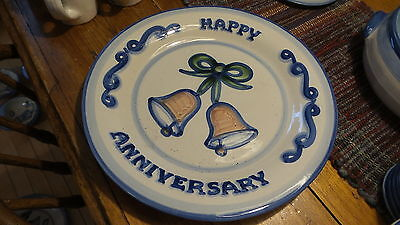 "Vintage M.A. HADLEY POTTERY 12-3/4"" Happy Anniversary PLATE,  Folk Art. Blue"