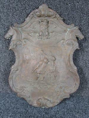ANTIQUE BRONZE PRESENTATION PLAQUE FOR POLO MTACH with HORSE HEADS, EAGLE & MORE