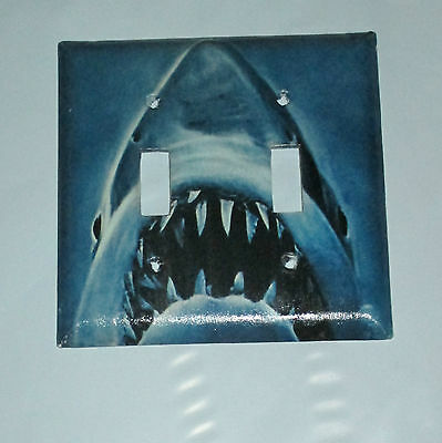 Vintage Style Jaws Killer White Shark 2 Hole Light Switch Cover Plate