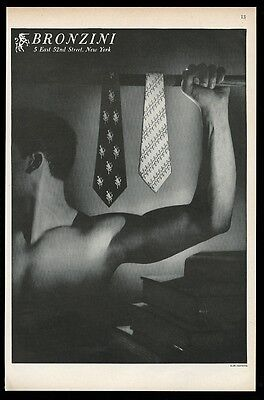 1951 man photo by Alan Fontaine Bronzini men's tie vintage print ad 1