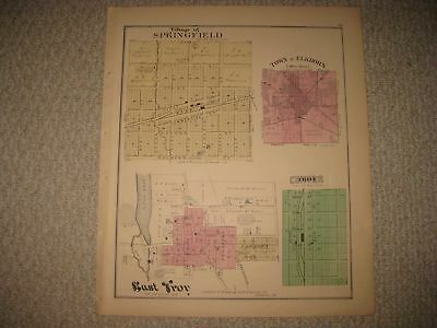 Antique 1873 Springfield Elkhorn East & Troy Walworth County Wisconsin Map Nr