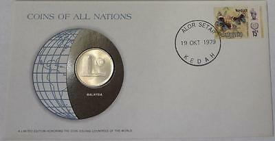1977 Malaysia, 50 Sen, Coin & Stamped Cover, Coins Of All Nations