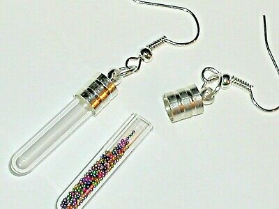 1 Set Pair Fill your own Pendant rice Vial miniature small Bottle earrings NEW*
