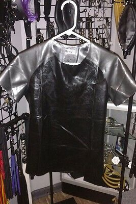 Men's Fetish Latex by Libidex, Proton Shirt Med. in Black with Met. Pewter Trim