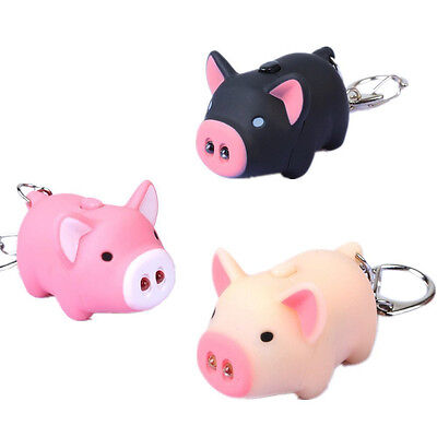 3pcs Portable Pig Led Light Flashlight Keychains Cute Piggy Design Keyring US