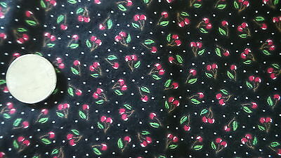 """Cotton Fabric Pc TINY RED CHERRIES,GREEN LEAVES ON BLACK 20""""x30"""""""