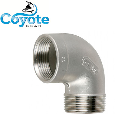 """1-1/2"""" NPT Stainless Steel 316 Pipe Thread Fitting 90 Degree Street Elbow 150"""