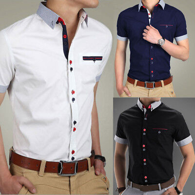 Men's Casual Slim Fit Short Sleeve Formal Business Dress Shirt T Shirts Tee Tops