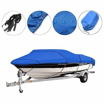 "Heavy Duty Fishing Ski Boat Cover 11-13"" 14-16"" 17-19"" 20-22"" V-Hull Blue Grey"
