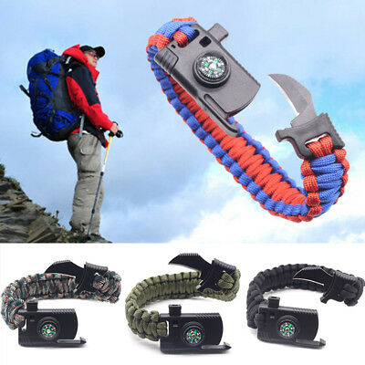 Outdoor Survival Buckle Rope Paracord Bracelet Camp Shackle Hiking Flint Compass