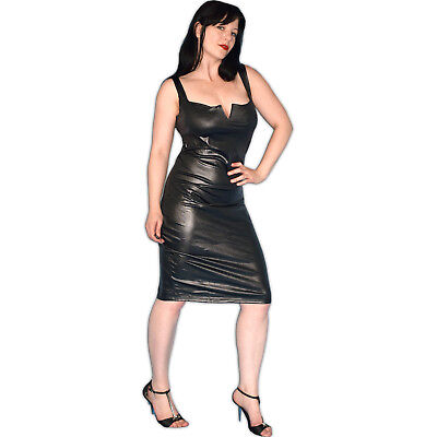 weiches LEDER-LOOK KLEID* L 44 * wetlook Kunstleder Stretchkleid* Abendkleid