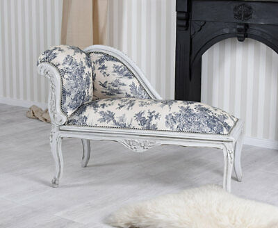 Chaiselongue Toile de Jouy Recamiere Sofa Rokoko Sitzhocker Ottomane Hocker