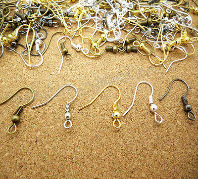 Lots 100pcs Silver Gold Plated Earring Hook Coil Ear Wire Jewelry Findings DIY