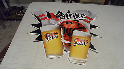 Rare 1999 Coors Light Beer Embossed Metal/tin Bowling Sign Only 1 On Ebay