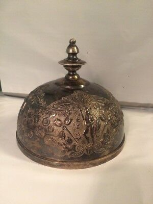 Antique Silver Plate Dome Cover Ornate W Cherubs & Floral Embossing